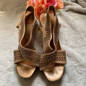 DVF tan leather boho heels, size 8 1/2